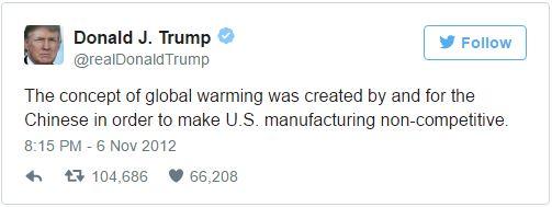 Le concept de réchauffement climatique a été créé par et pour les Chinois dans le but de rendre l'industrie américaine non-compétitive