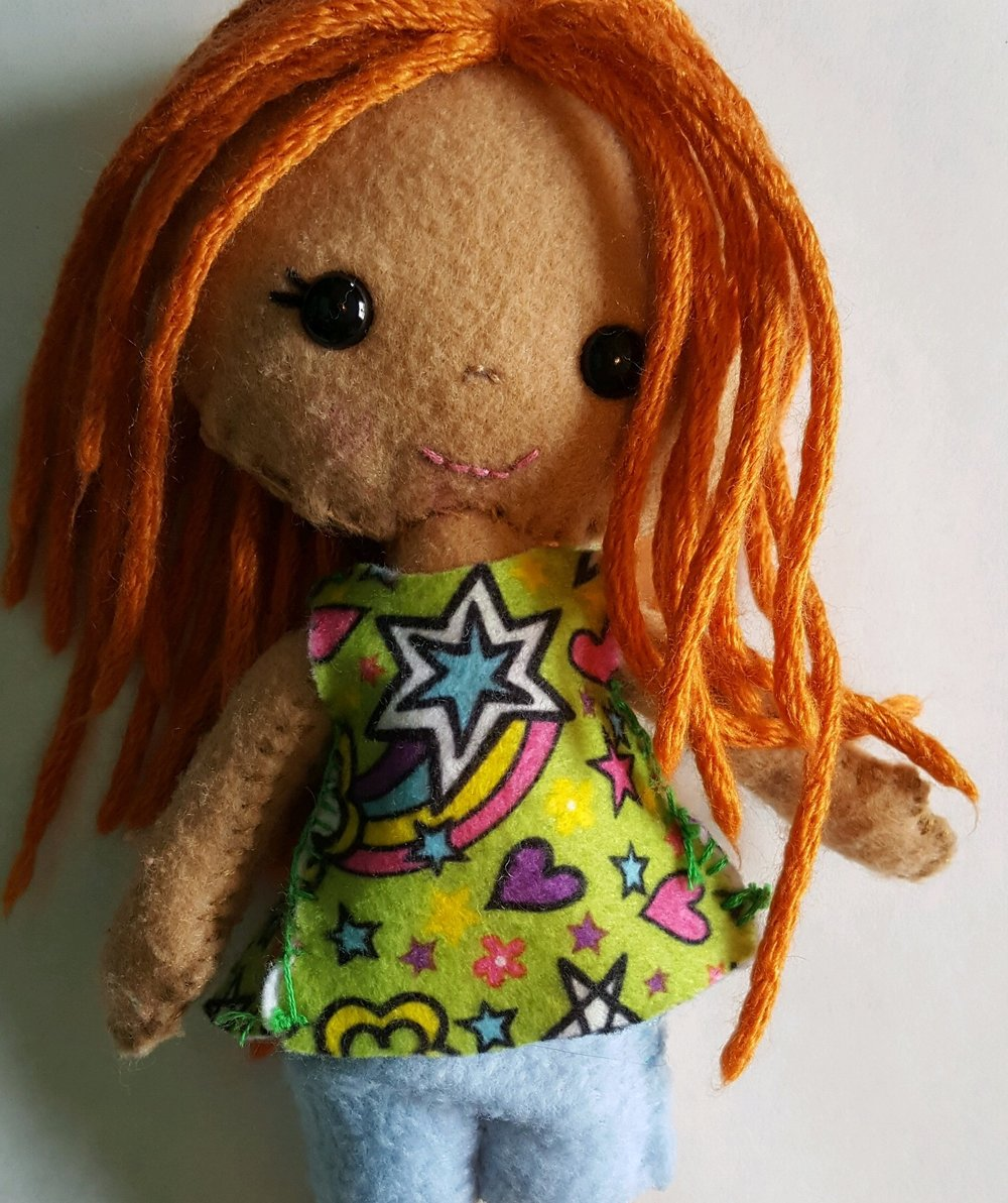 Patterns from My Felt Doll by Shelly Down (see below)  Sample by Gabs