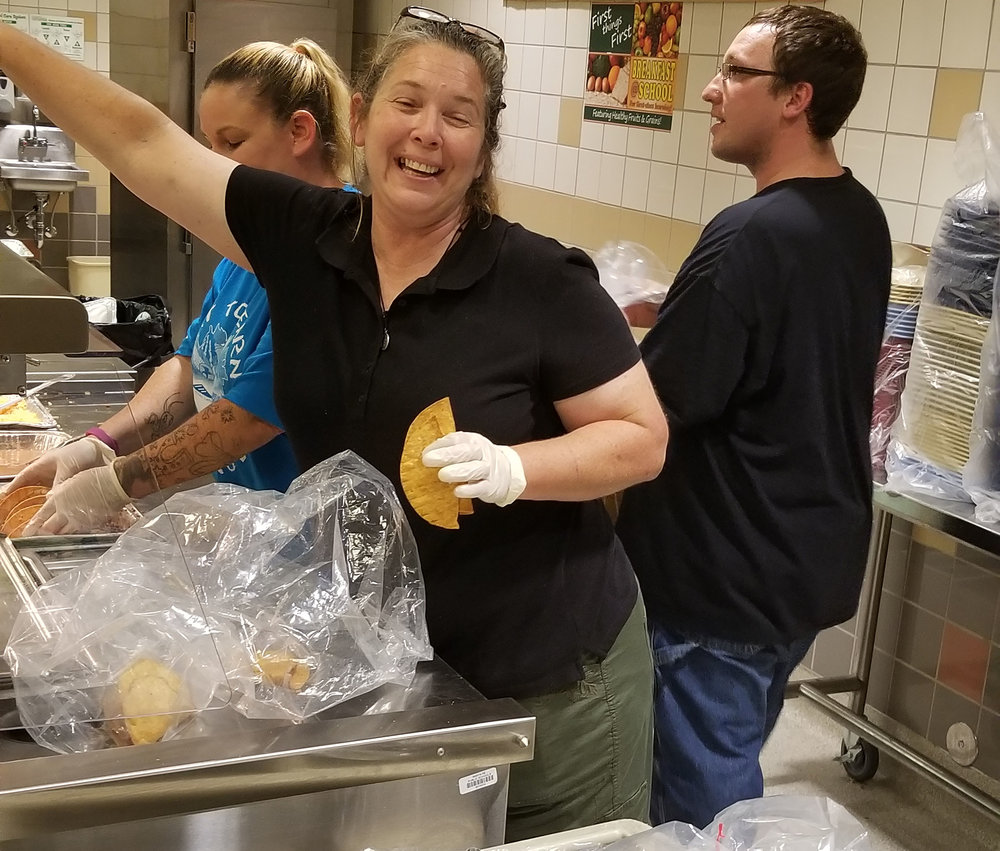 Our SpEd teacher, Ms. Lena Brigman, helping to serve food