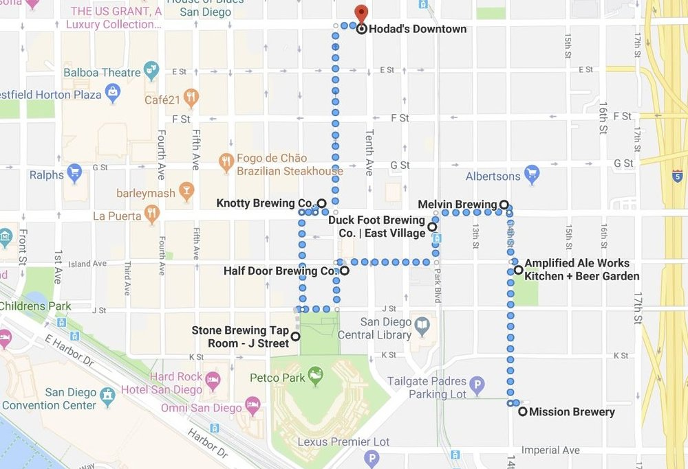 San Diego's East Village neighborhood is home to eight (soon ten) craft breweries and tasting rooms you can hit on a 1.4 mile walk. Here's  a link to the Google Map  so you can navigate on your phone.