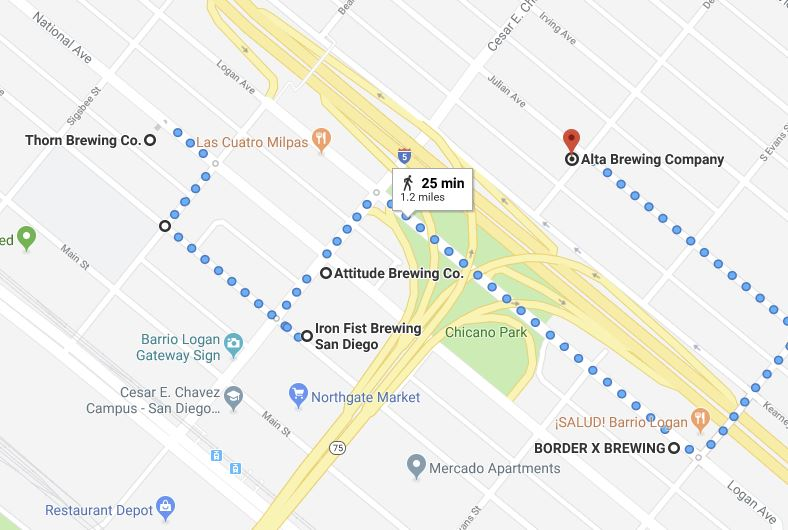 Four craft breweries and a tasting room in a 1.2 mile walk in Barrio Logan. Here's  a link to the Google Map  so you can navigate this route on your phone.
