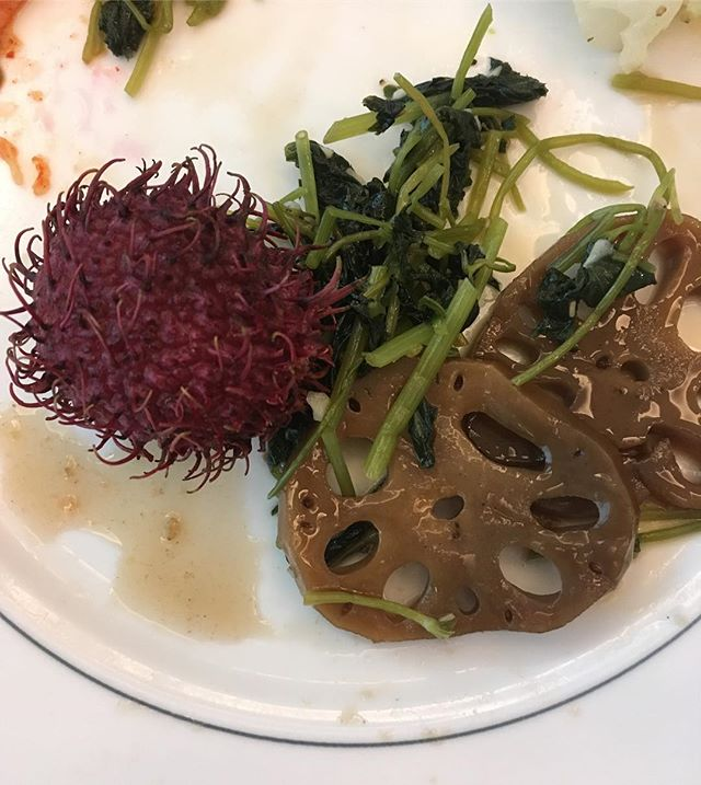 There are some delicious but interesting foods in South Korea!  Rambutan and Lotus Root for breakfast.