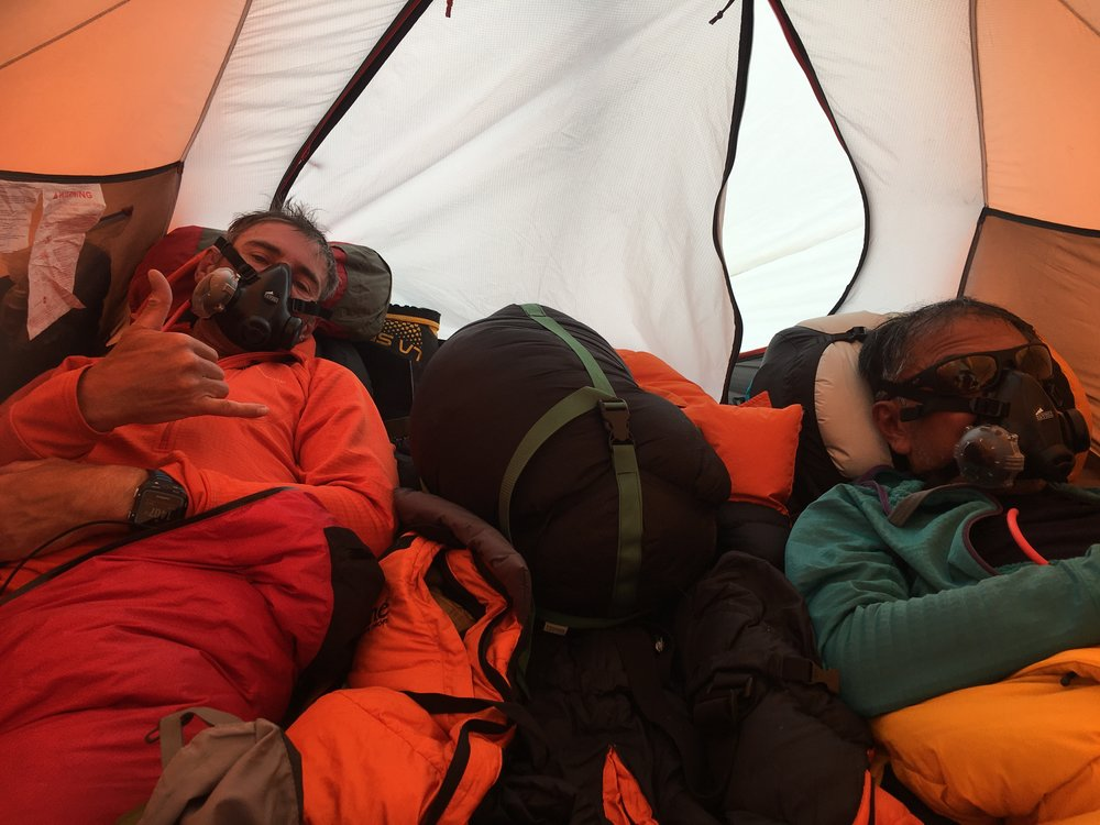 Cozy at camp 4 with Jason and Semba