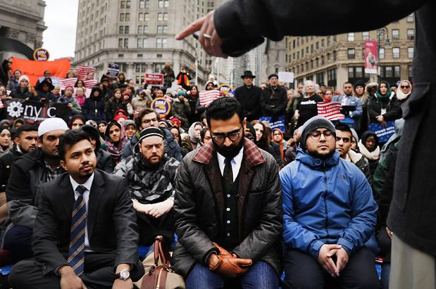 Muslims and Immigration activists at a rally against President Donald Trump's Immigration policies on Jan 27th, 2017, in New York City.