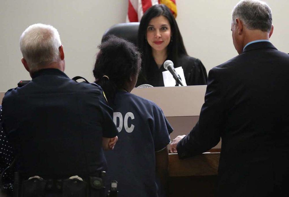 The 14-year-old girl, who was seen on video being restrained by several San Antonio police officers, appeared in juvenile court before Judge Arcelia Treviño on May 22, 2017.