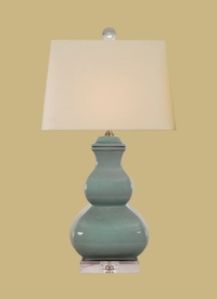 "CELADON SQUiRE GOURD LAMP CRYSTAL BASE 25""HIGH 14""WIDE 3 WAYS SOCKET, MAXIMUM 150W, UL LISTED SHADE COLOR: BEIGE"