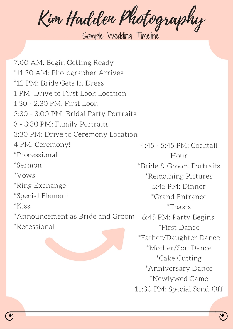 Creating your wedding day timeline part 4 kim hadden photography this timeline was based off the one i used for my own wedding so i know it can work when done well to provide you with a stress free and fun wedding day maxwellsz