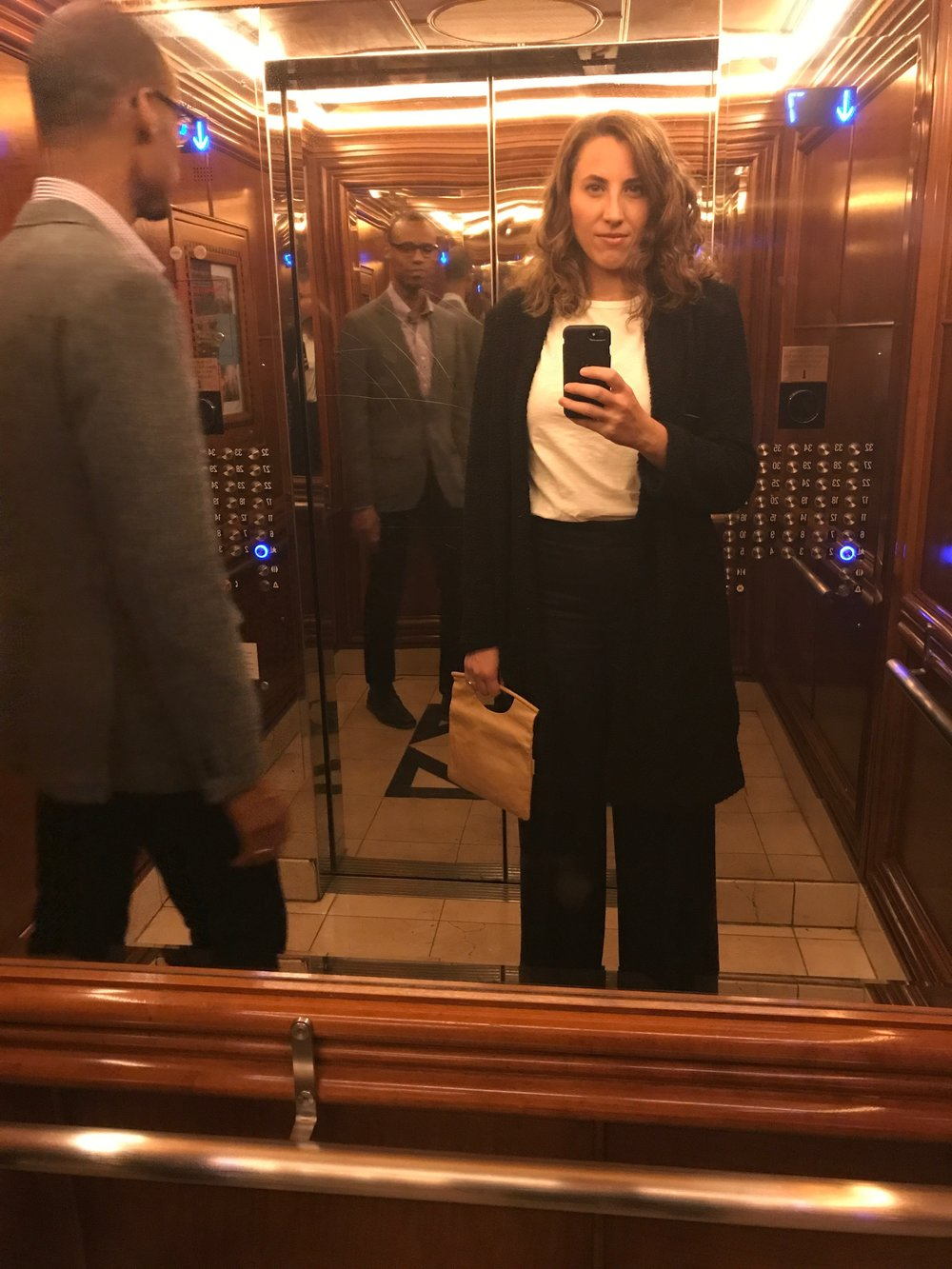 Emi & her husband Steve in a fancy NYC elevator en route to a documentary premiere no doubt...