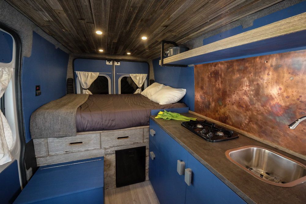 "Bonfire:  Native Campervan's 2016 136"" Dodge Promaster.  This high-roof model is packed with character as well as enough room to sit and sleep two."