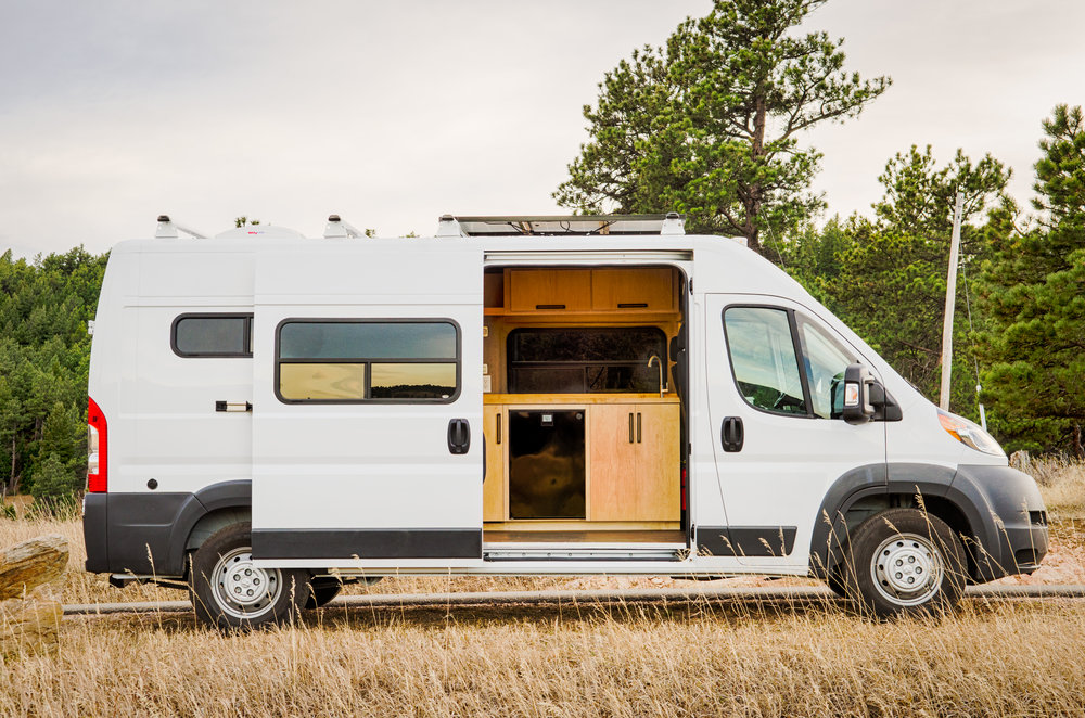 """159"""" Promaster Campervan Converson: Mike chose his own interior finishes and created a clean, simple, and unique layout to enjoy for years to come!"""