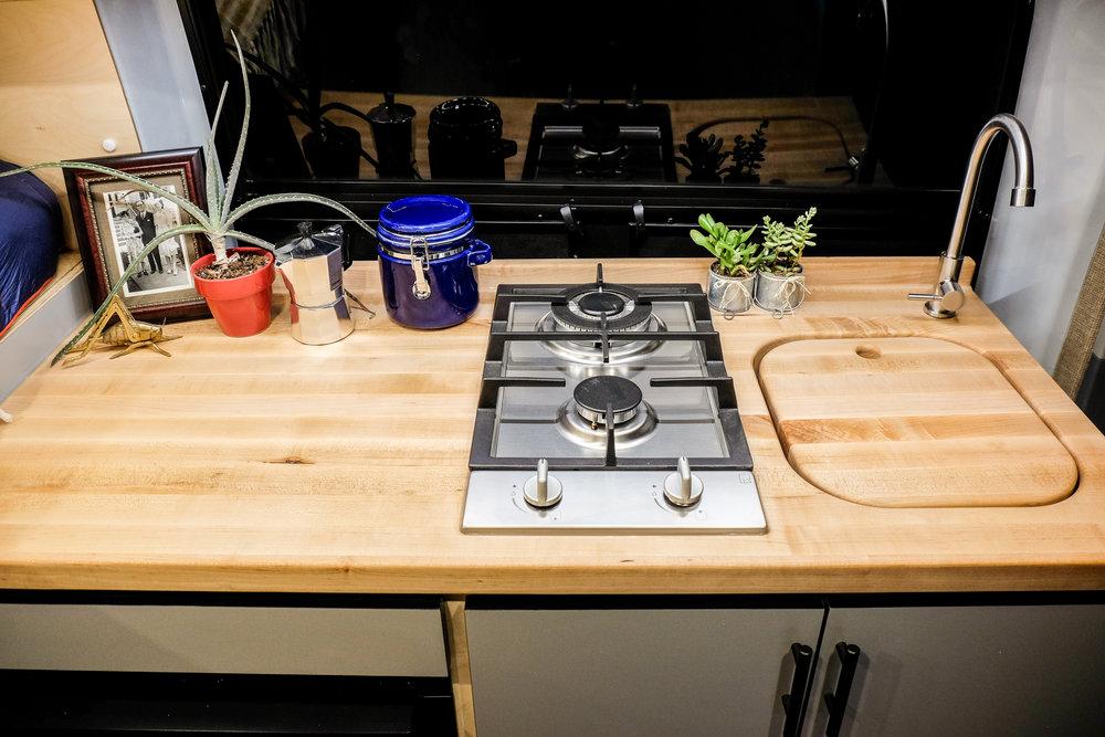 Vanlife Customs Van Conversion Kitchen Counter and Stove