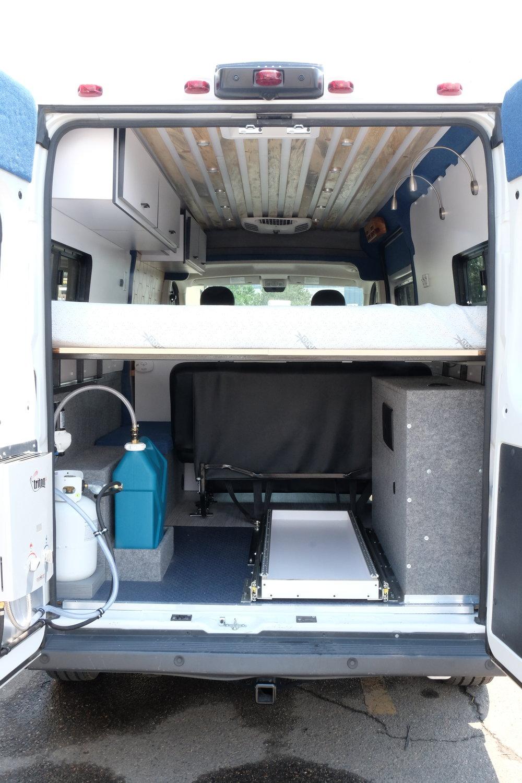 "Vanlife Customs: 159"" Dodge Promaster Custom Van Conversion Rear Storage"