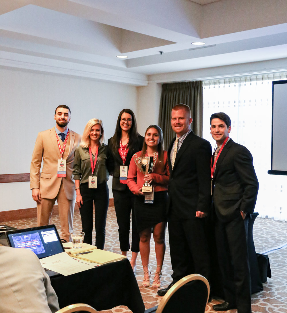 Presentation of the 2017-18 Champions of Charity Award to the University of the Southwest at the 2018 NAIA National Convention.