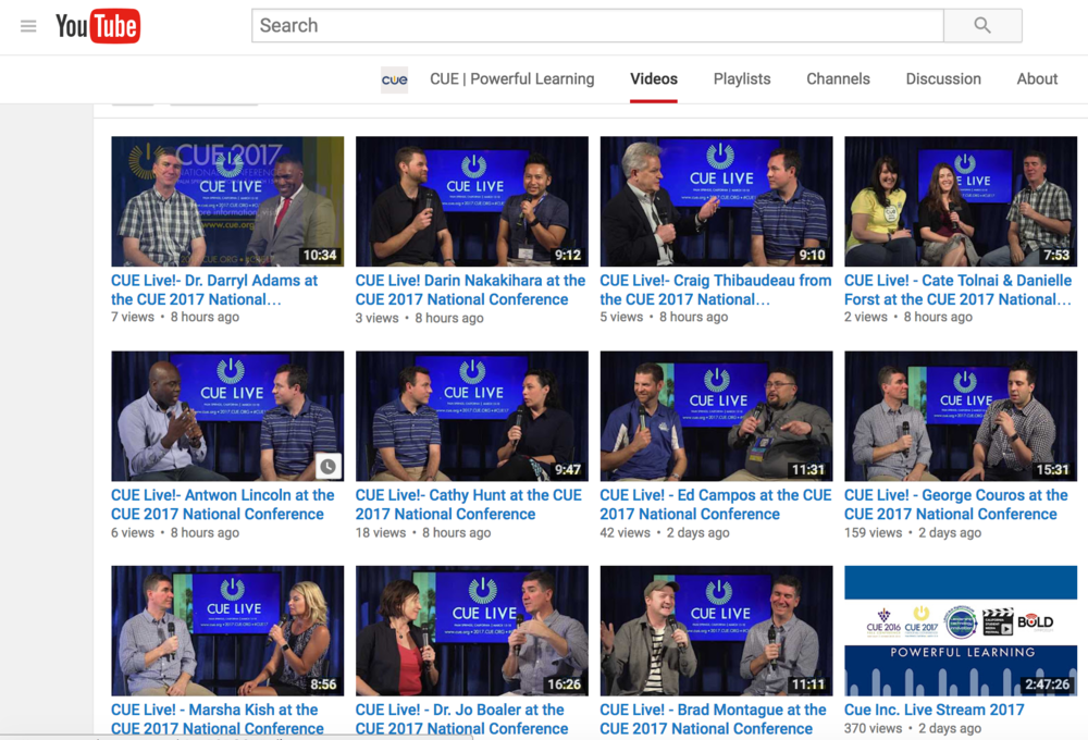 Here are some other great resources from the Cue Live Youtube page
