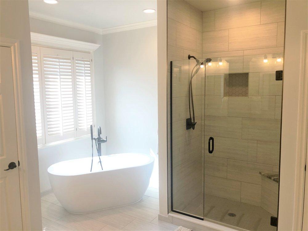 New soaker tub & custom shower