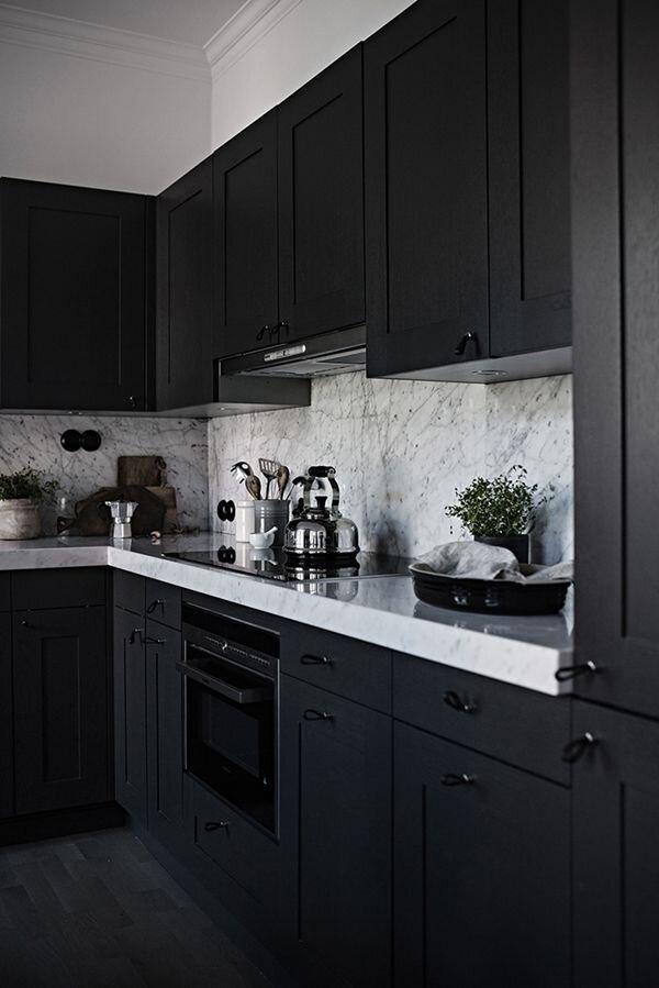 Design Trends We Love - Blog - Kingdom Construction and Remodel - 31+Black+Kitchen+Ideas+for+the+Bold%2C+Modern+Home+%23darkkitchencabinets+Stylish+Ways+to+Decorate+dark+kitchen+cabinets+color+schemes+on+this+favorite+site