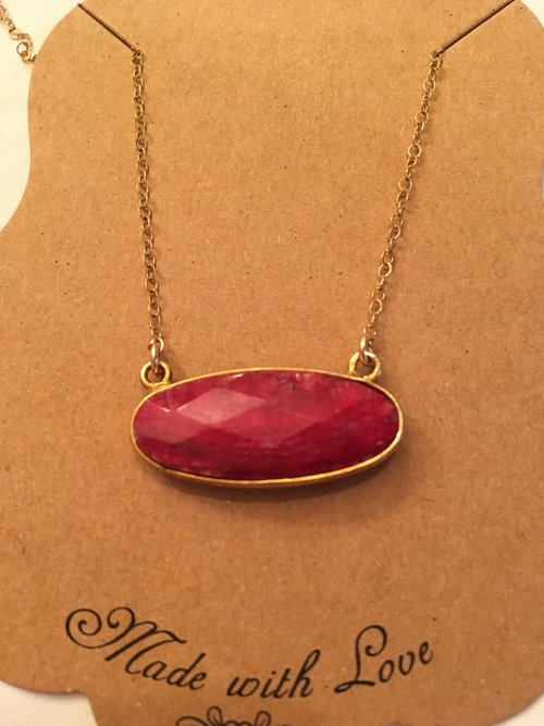 Ruby stone necklace jewelry vault by natalie ruby stone necklace aloadofball Images