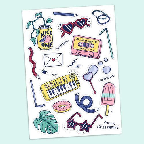 Summer vibes sticker sheet