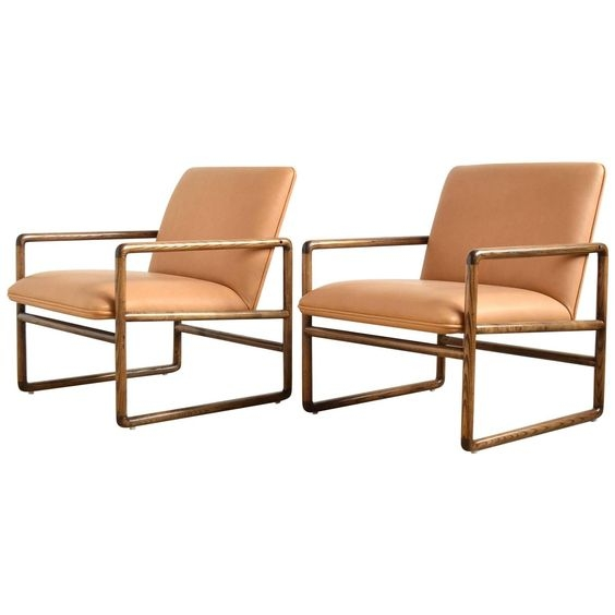 Ash and leather lounge chairs, c. 1970