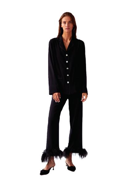 Black Tie Pajama Set; $265