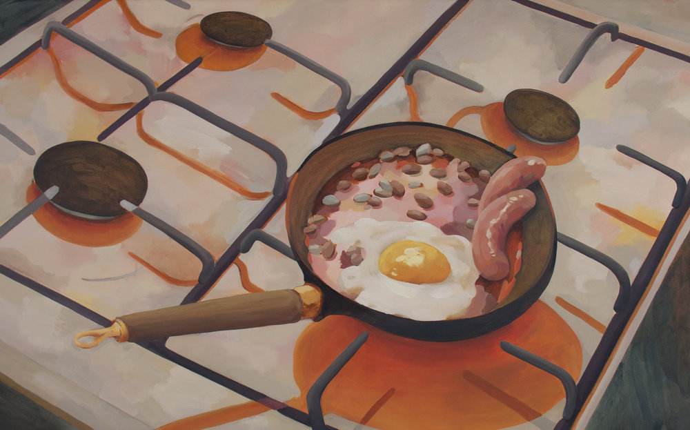 Eggs & Sausage, oil and acrylic on poly cotton, 76cm x 122cm, 2017