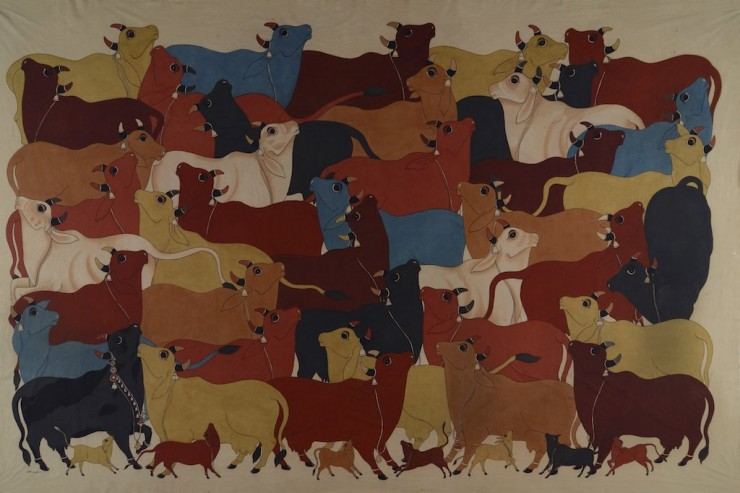 COWHERD - PAINTED BY AJIT KUMAR DAS FROM KOLKATA - NATURAL DYE PAINTING ON CLOTH