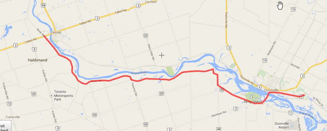 River Rd., starting at Cayuga off #3 and brought us almost to Port Colborne.
