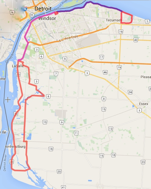 A great ride, surrounded by water through most of it. The part in purple is where we had to double our ride, no complaints though - great views.
