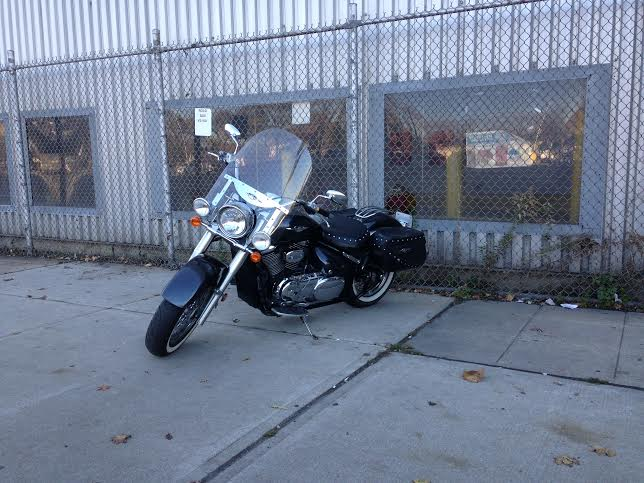 Larry's bike at work, waiting for the ride home.