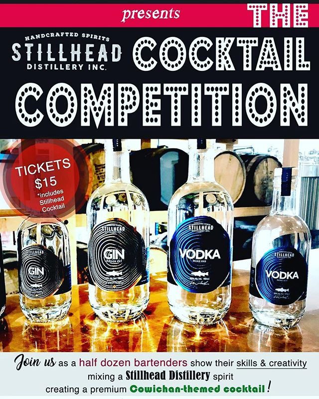 One week until our Stillhead Distillery Cocktail Competition.  Six local bartenders each competing to create a premium Cowichan themed cocktail. 🍸🍹🥂🎈 #stillhead #stillheaddistillery #craftdistillery #localdistillery #craftcocktail #cocktaillovers #cocktailbar #cowichanvalley #cowichancocktails #bartenders #localbartenders #localbartender #craftcocktails #mixology #mixologists #bartendercompetition #cocktailcompetition #sundayfunday #cocktailgram #ginlovers #vodkalovers #ginlove #vodkalove #ginstagram