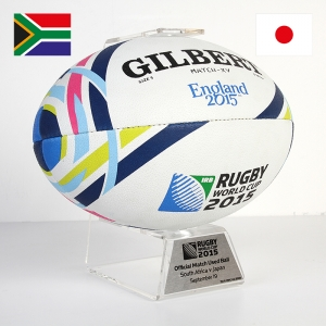 The Signed Official Rugby World Cup 2015 Match Used Ball #2, South Africa v Japan was the item sold that had the highest price (so far).