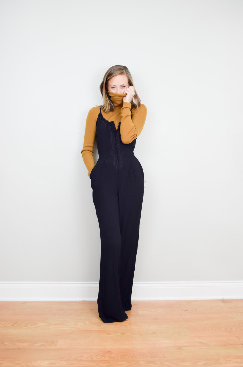 This jumpsuit is so comfy and I loved pairing it with a mustard turtleneck!