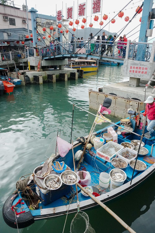 curio.trips.hong.kong.night.fishing.village.blue.boat.portrait.jpg