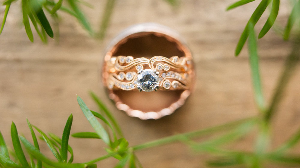 Diamonds and rose gold, wedding ring.