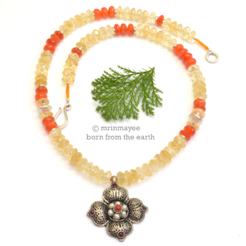 Mrinmayee born from the earth citrus punch citrine carnelian citrus punch citrine carnelian and tibetan pendant necklace aloadofball Choice Image