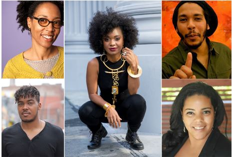 The James Weldon Johnson 2018 Fellows—Sonya Clark, Patrick Eugène, Douriean Fletcher, Kamil Peters, and Meclina Priestley