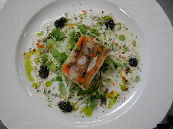 Seafood Terrine w Caviar, Herb Oil, & Cream