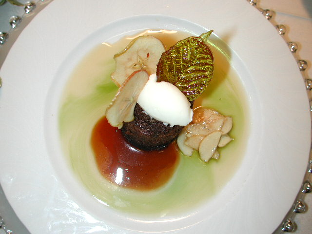 Chocolate Bourbon Cake w Mint Syrup, Apple Chips, & Creme Anglaise