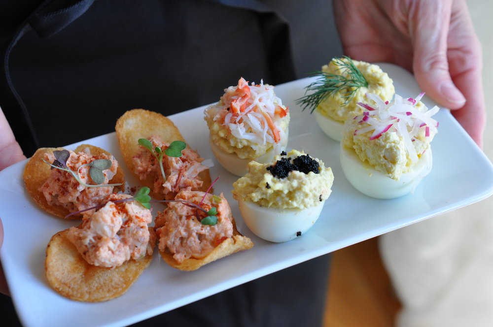 Lobster Salad w House Potato Chips | Deviled Eggs