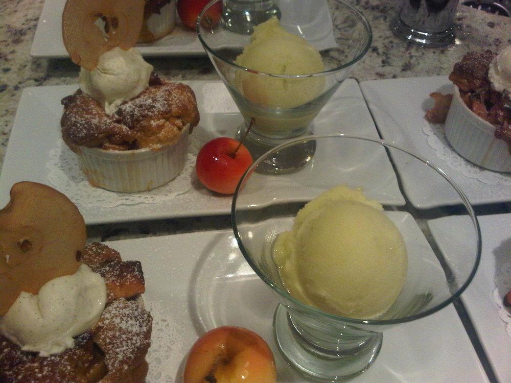 Apple Cobbler, Apple Sorbet, Candied Crabapple
