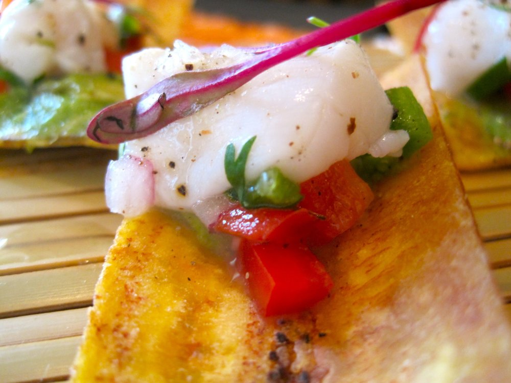 Red Snapper Ceviche on Lime-zested Crispy Plantain