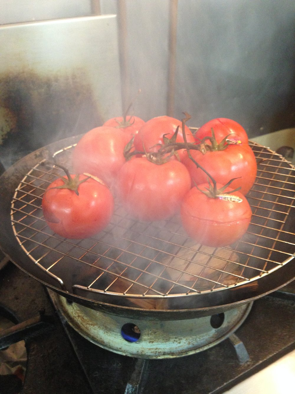 Hickory-smoking Tomatoes for Aioli (for our shrmip burgers)