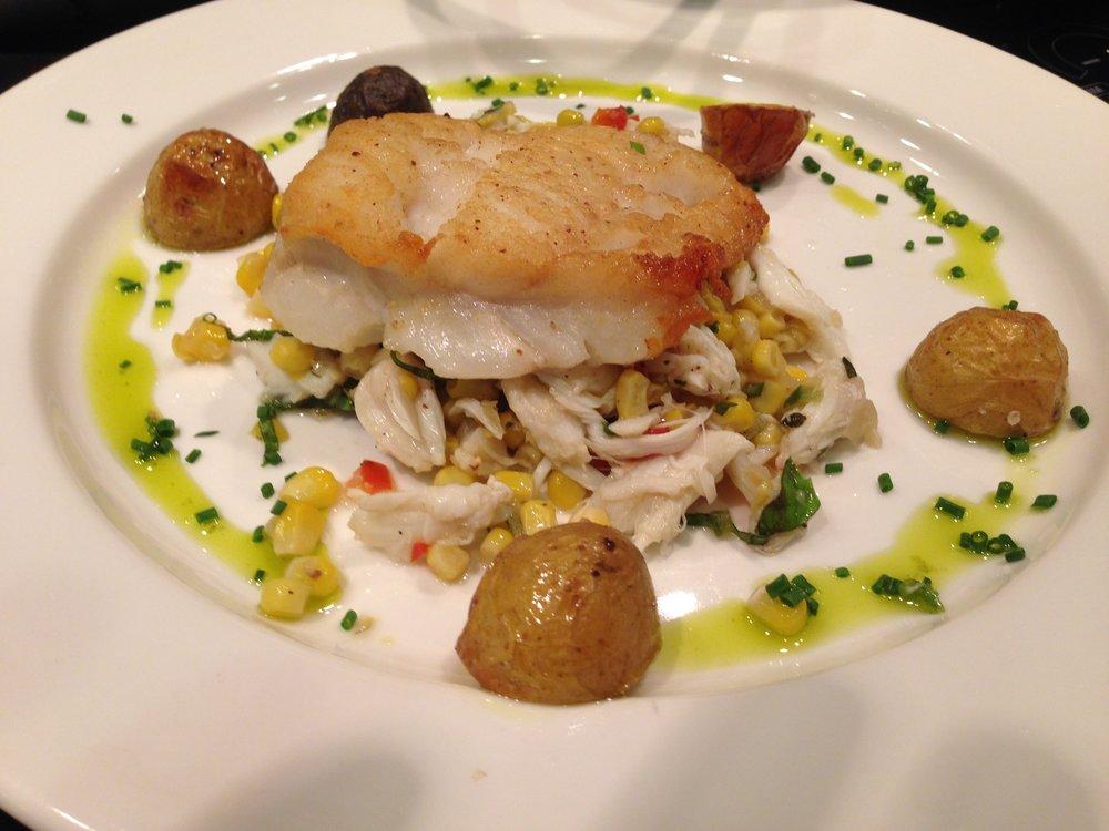 Pan-roast Cod on Corn, Crab, & Pepper Salad