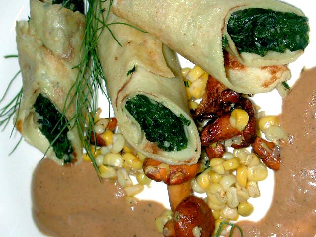 Spinach & Chard Canelloni w Chanterelles & Corn