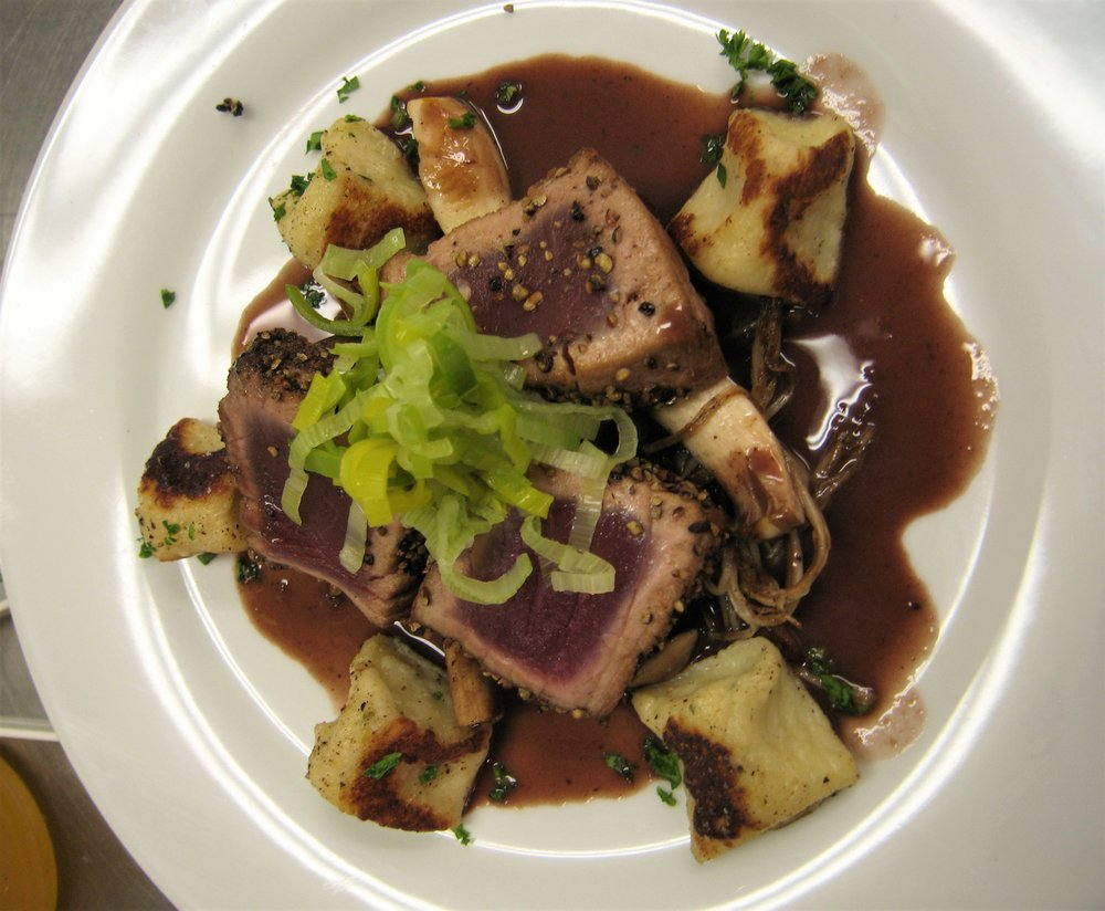 Tuna, Gnocchi, & Red Wine Sauce