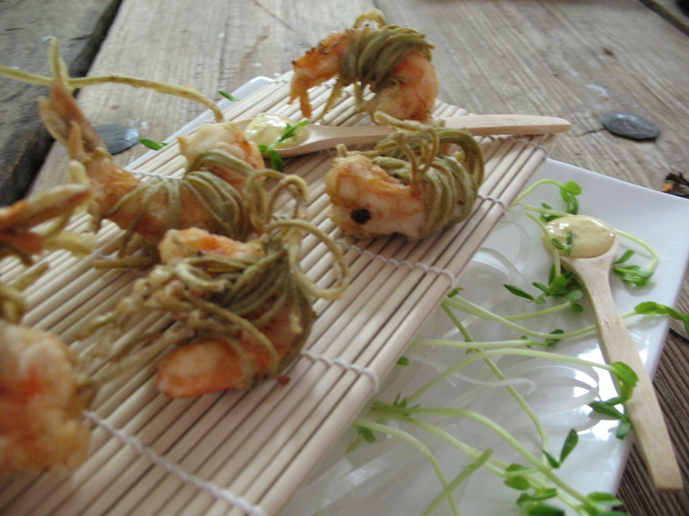 Green Tea Noodle Shrimp Tempura