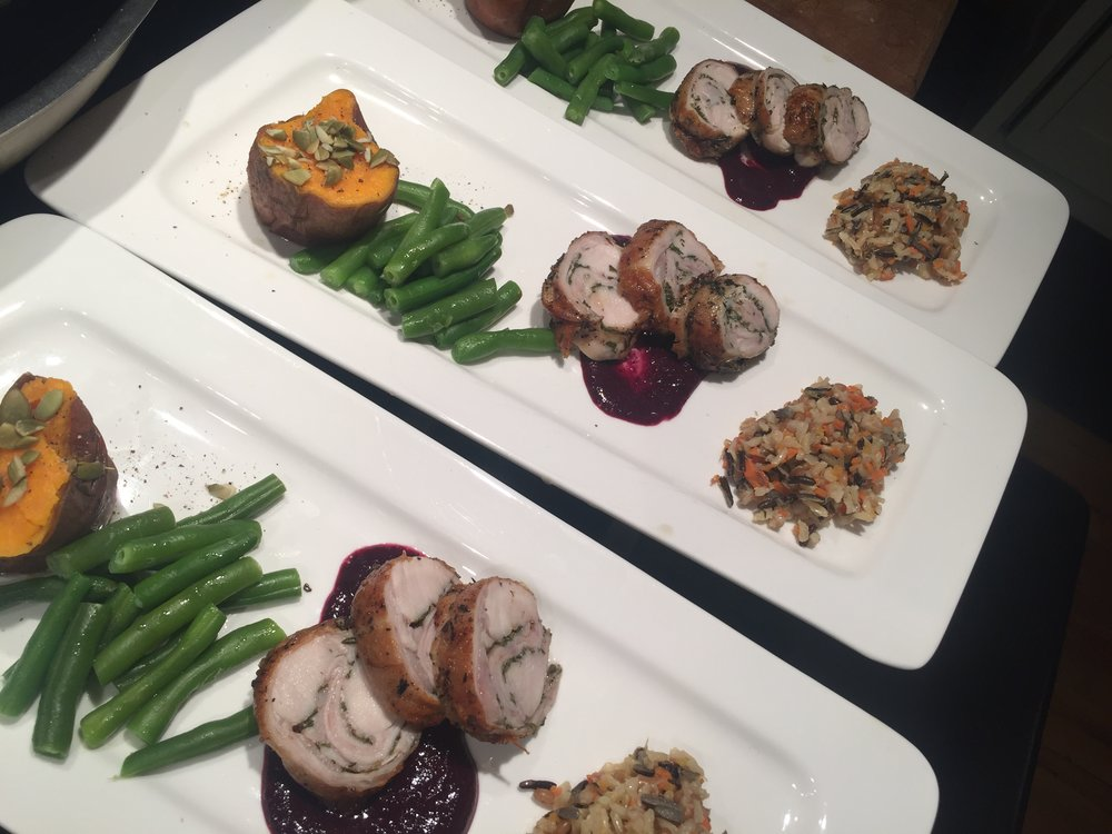 Home Dinner; Saddle of Rabbit w Blackberry-Five Spice Jam