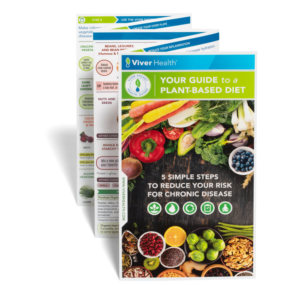 Your Guide to a Plant-based Diet: 5 Simple Steps to Reduce Your Risk for Chronic Disease - Please click here to order our latest Guide