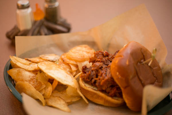 Pull Pork BBQ with homemade chips. Available with or without coleslaw.