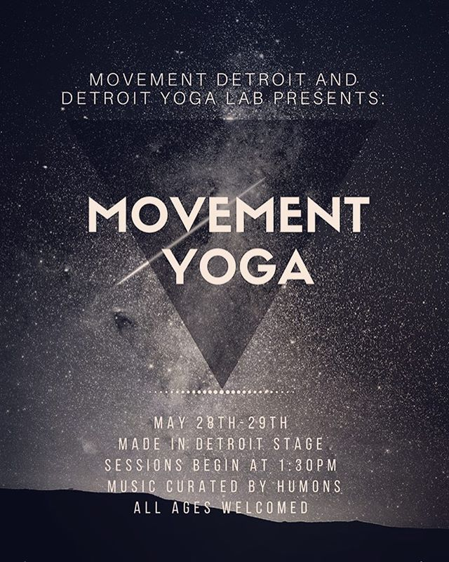 Excited to be DJing for @movementdetroit Yoga this weekend with @detroityogalab. Sunday and Monday at 1:30pm at the Made in Detroit stage. Come get yr pre-dance stretch in and keep those calfs loose and those hips groovy 🤸🏽‍♂️🤸🏼‍♀️